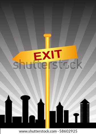raster illustration exit sign city - stock photo