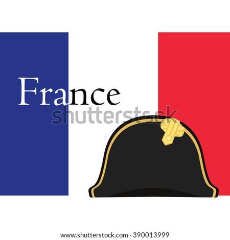 Raster illustration flag of France with text france and black Napoleon Bonaparte hat. General bicorne hat. France symbol - stock photo