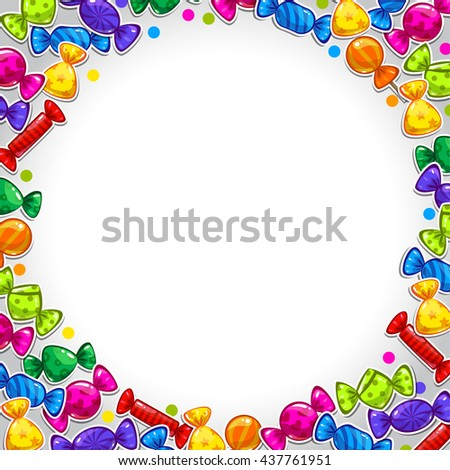 Raster illustration. Funny bright abstract background with colorful candy stickers,sweet banner with place for your text