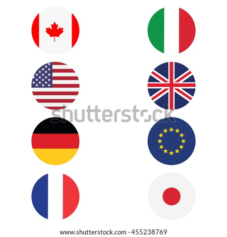 Raster illustration g8 countries round flags. Canada, Germany, France, Japan, United Kingdom of Great Britain, EU, Italy and United States. Icon flat design - stock photo