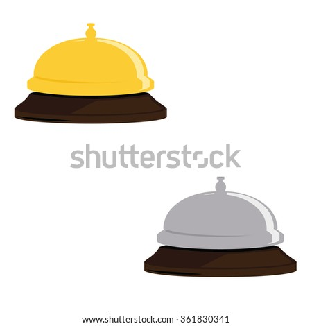 Raster illustration golden and silver hotel bell. Reception bell flat icon. Reception service bell - stock photo
