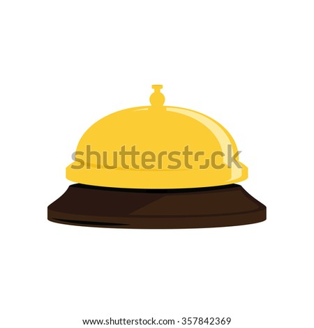 Raster illustration golden hotel bell. Reception bell flat icon - stock photo