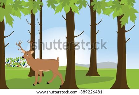 Raster illustration green sunny forest landscape with deer great antler. Forest background. Forest animals - stock photo