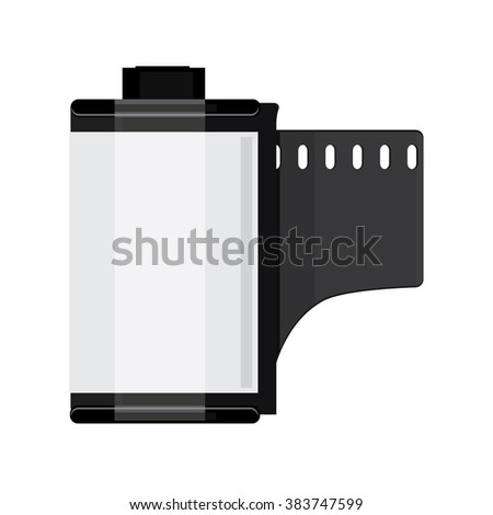 Raster illustration grey camera film roll. Photo film flat icon - stock photo