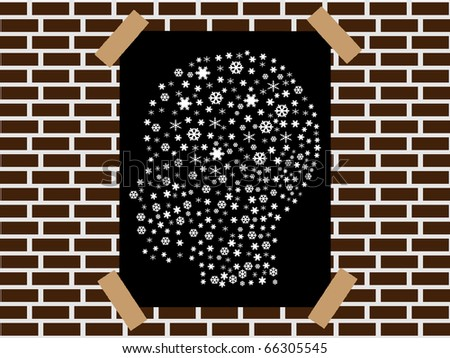 raster illustration head made of snowflakes banner - stock photo