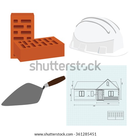 Raster illustration house plan, brick spatula, white building helmet and two brown bricks. House building
