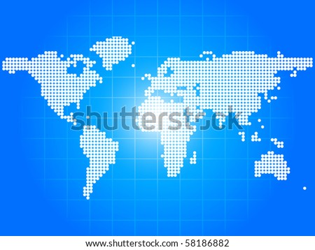 raster illustration map made of dots - stock photo