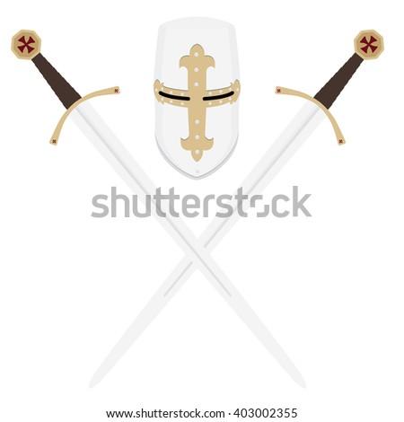 Raster illustration medieval templar knight helmet and two crossed swords. Metallic crusader armor. Medieval weapon - stock photo
