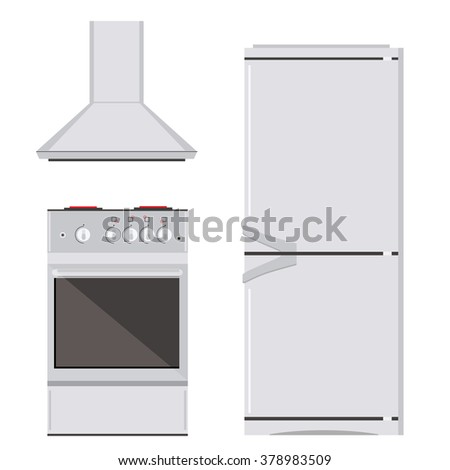 Raster illustration modern electric or gas stove, refrigerator or fridge and extractor kitchen hood icon set. House appliance. Kithcen appliance - stock photo