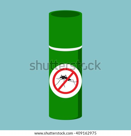 Raster illustration mosquito spray bottle icon. Mosquito, insect stop sign - stock photo