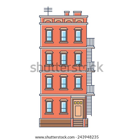 raster illustration - new york united states red brick old building with stairs isolated vintage on white background - stock photo