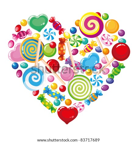 raster illustration of a candy heart white - stock photo