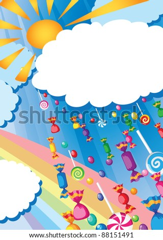 raster illustration of a candy rain and sun card - stock photo
