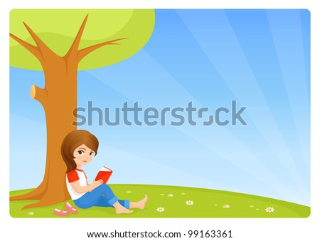 raster illustration of a cute small girl reading book in the garden