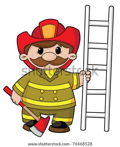 raster illustration of a firefighter with the equipment - stock photo