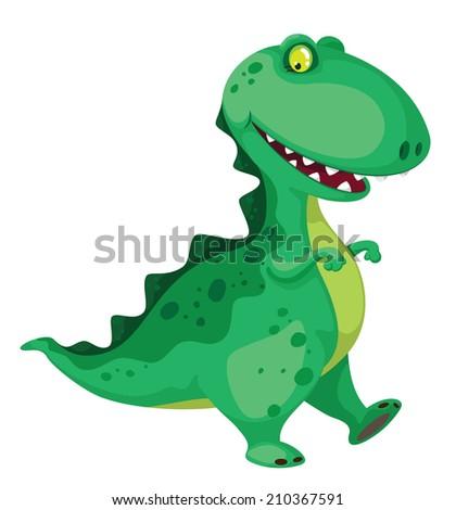raster illustration of a going dinosaur - stock photo