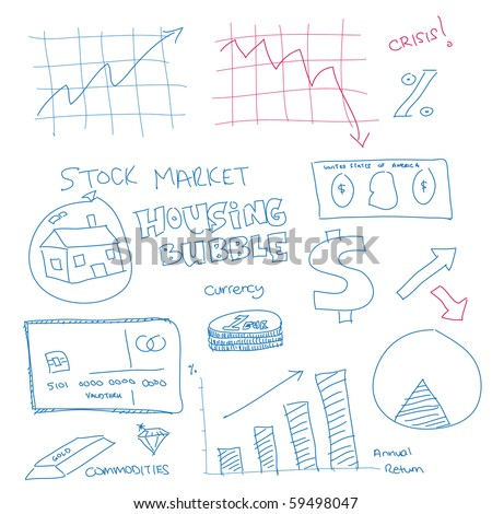 Raster - Illustration of a hand drawn doodle of the financial system in the current economy - stock photo