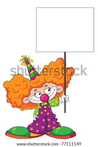 raster illustration of a kid clown with blank sign - stock photo