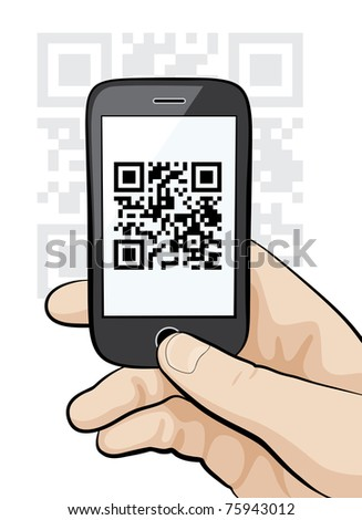 Raster illustration of a mobile phone in the male hand scanning qr code. - stock photo