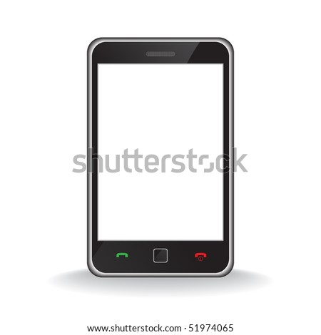 Raster - Illustration of a modern smart phone for mobile communication with white screen for text insertion - stock photo