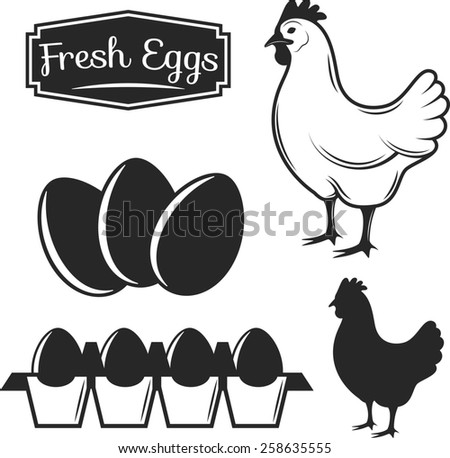 Raster Illustration of a Monochrome Chicken with Eggs. - stock photo