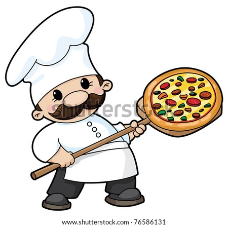 raster illustration of a pizza chef - stock photo