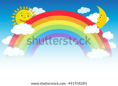 raster illustration of a rainbow with clouds, sun and moon characters - stock photo