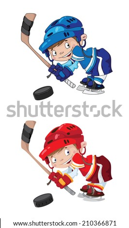 raster illustration of a set funny boy hockey - stock photo