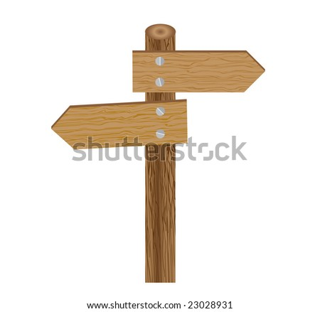 Raster illustration of a sign direction post