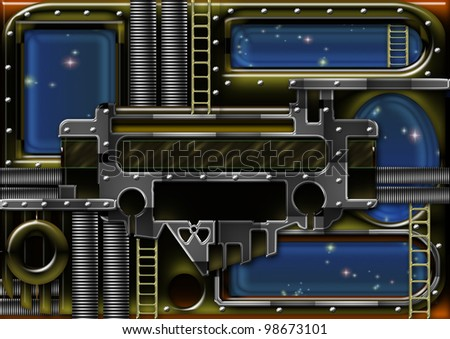 raster illustration of a space station background