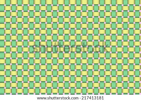 Raster illustration of an Easter basket wicker weave with traditional green, yellow and pink Easter colors. For use as a background or design element. - stock photo