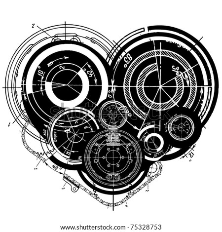 raster illustration of art illustration of heart with many mechanisms - stock photo