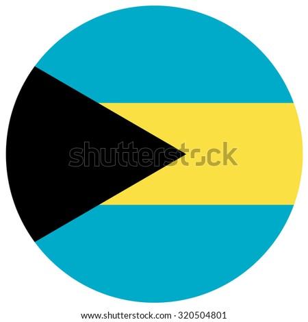raster illustration of bahamas flag.  Round national flag of bahamas  - stock photo