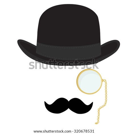 raster illustration of black derby hat, mustache and golden monocle with chain. Bowler hat. Black fashion gentleman hat. Gentleman concept - stock photo