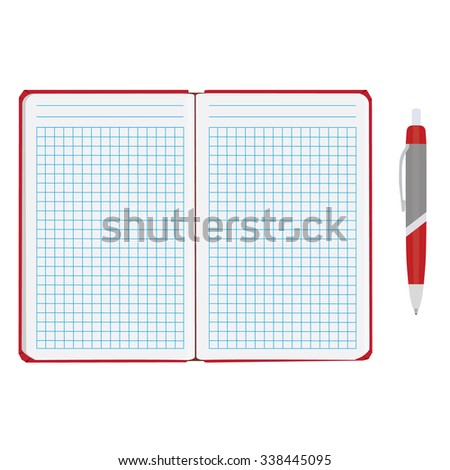 raster illustration of blank empty notepad, notebook. Opened notebook. Squared sheet paper and ball pen - stock photo