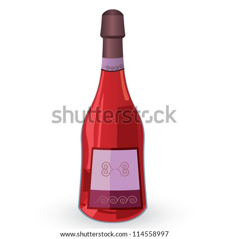 Raster illustration of bottle with pink wine isolated on white background