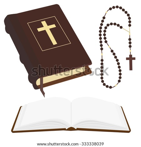 raster illustration of brown opened and closed Holy Bible and rosary beads with cross. - stock photo