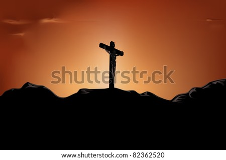 raster illustration of crucified Jesus on cross in the sunset, vector file available