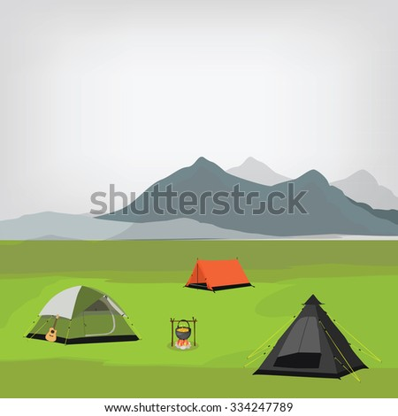 raster illustration of family camping with three camping tents and campfire. Summer camp. Mountain background, landscape. Camp site - stock photo