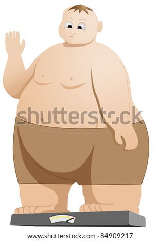 raster illustration of fat man weighing himself, vector version available - stock photo