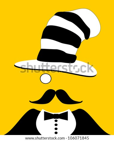 raster illustration of gentleman wearing funny hat and monocle - stock photo