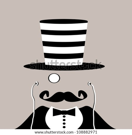 raster illustration of gentleman with monocle and earphones wearing striped prison top hat - stock photo