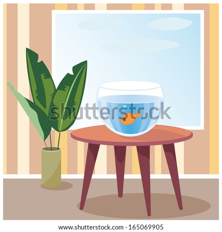 Raster illustration of goldfish in aquarium which is on table in room. - stock photo