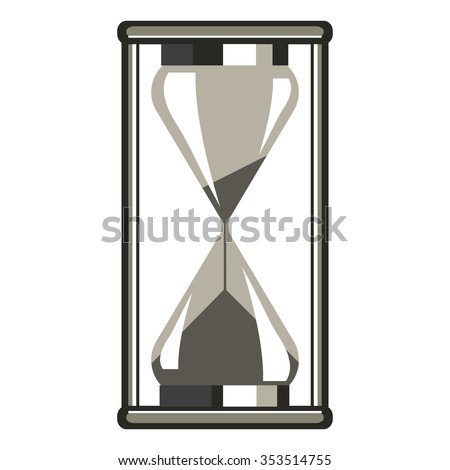 Raster illustration of grey hourglass, isolated on the white background