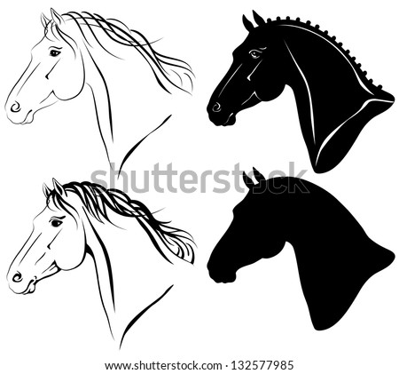 Raster illustration of horse head clip-art set. There is also vector original in my portfolio. - stock photo