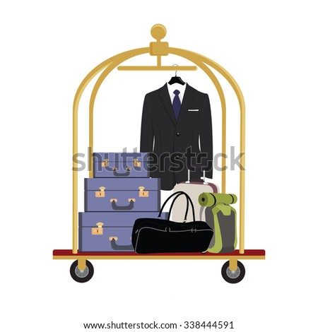 raster illustration of hotel luggage cart with luggage, briefcase, backpack, bag and man black business suit with tie. Luggage trolley - stock photo