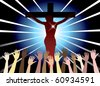 Raster Illustration of Jesus Christ on cross. Easter Resurrection. - stock photo