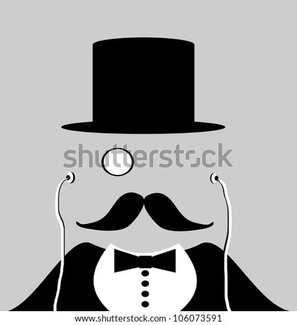 raster illustration of magician wearing monocle and earphones - stock photo