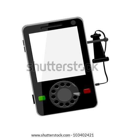 raster illustration of modern smart cell phone with vintage dial and ear piece