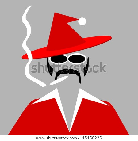 raster illustration of pimp smoking marijuana and wearing santa outfit - stock photo